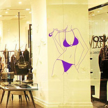 Sexy figure Korean clothing sofa bedroom decorate sexy underwear shop to stick glass window wall stickers