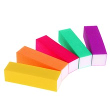 5 Pcs/set Nail Art Sand Buffer Block Sponge Fluorescent Color French Acrylic Nails Tips File Sanding Polishing Pro Manicure Tool