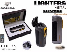 Original COHIBA Tool Pocket Size High Gloss Yellow Metal bottle shape Butane Gas Windproof 3 Torch Flame Cigarette Cigar Lighter(China)