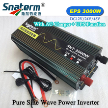 3000W/3KW 12V/24V/48V to 220VAC Pure sine wave Off grid inverter Converter with AC charger and UPS power supply LCD display