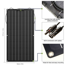 100W 18V 12V Flexible Solar Panel Charger( with ETFE Layer, MC4 connectors) Semi Bendable Water-resistant Solar Charger for RV,(China)