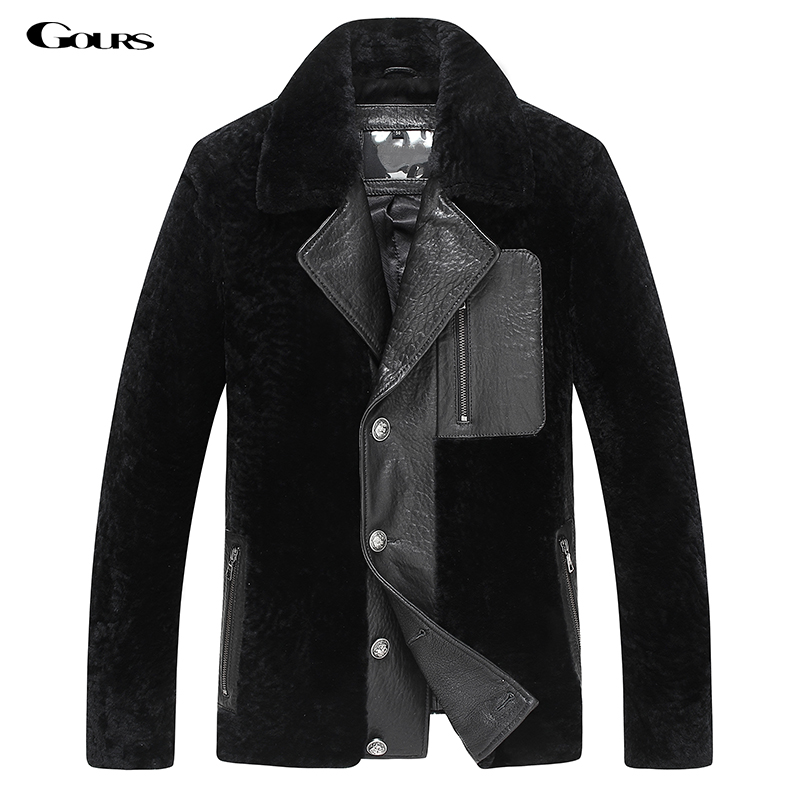 Gours Winter Men's Genuine Leather Jacket Sheepskin Suit Jackets and Coats Warm Double-faced Fur Blazers 2017 New Plus Size 4XL