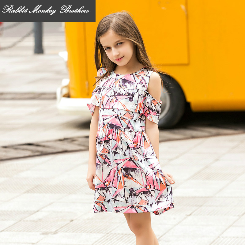 RMBkids Girls Summer Princess Dress Childrens Fashion Floral Loose Chiffon Dress for 8 9 15 Years Old Girls<br>