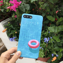 3D Swim Ring on Summer Pooh Swimming Pool Phone Case For iPhone 6 6s plus Sky Blue Soft TPU Back Cover Cool Beach Style Pink(China)