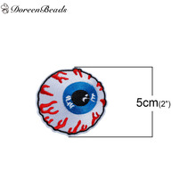 DoreenBeads 3PCs Polyester Patches Appliques DIY Scrapbooking Craft Eyeball White Blue Clothes Jeans Bags Decoration 5cm