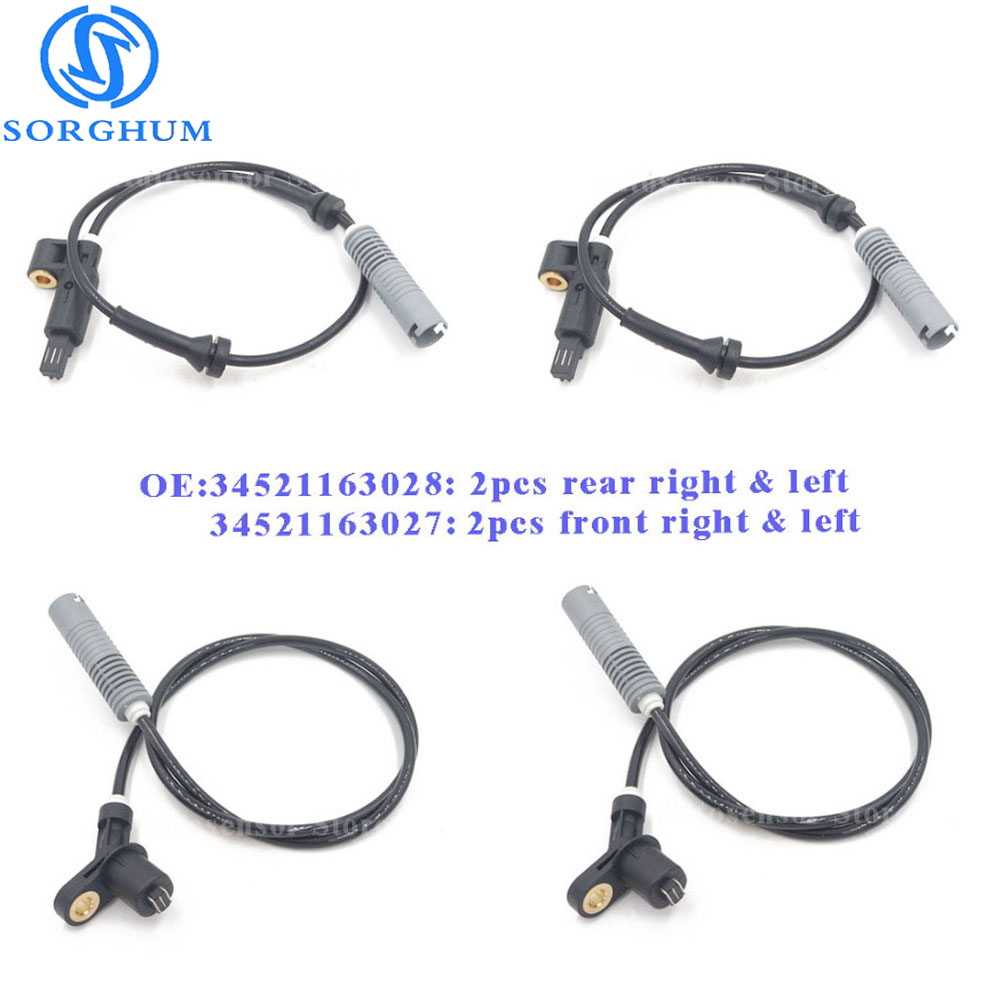 2PCS 34526756375 2PCS 34526756376 Front Rear ABS Wheel Speed Sensors Fit BMW