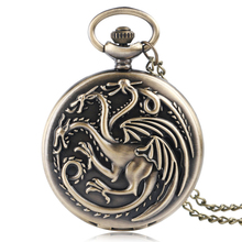 Antique Style Game of Thrones House Targaryen Three Head Dragon Quartz Pocket Watch Women Men Necklace Clock Pendant Gifts(China)