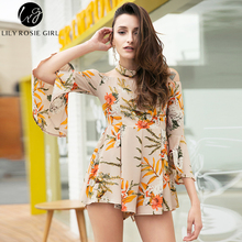 Lily Rosie Girl Women 2017 Off Shoulder Boho Print Hollow Out Mini Dress Slash Neck Full Sleeve Summer Dresses Vestidos