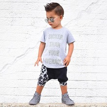 2017 New children Summer brand Boys baby clothing set kids sports suit boys T shirt +Leopard pants sweatshirt casual clothes
