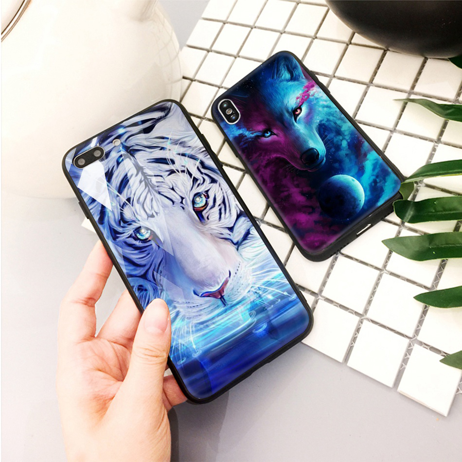 TOMKAS Animal Glass Case For iPhone X 8 7 10 6 Cover Phone Cases For iPhone X 7 8 6 6s Plus Case Luxury Cute TPU PC Covers Coque (15)
