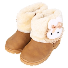 Girls Boots Cute Baby Children's Rubber Mid-calf Enfant Plush Toddler Warm Waterproof Snow Boots Winter Shoes Kids Winter Boots