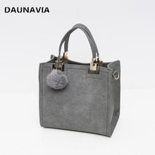 DAUNAVIA Brand Top-Handle Bags Women Leather Handbags Large Solid Shopping Tote With Tassel Fur Ball Shoulder Bag Messenger Bags(China)