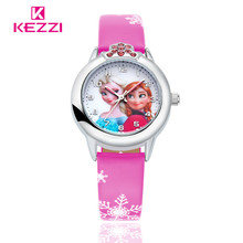 New Cartoon Children Watch Princess Elsa Anna Watches Fashion Girl Kids Student Cute Leather Sports Analog Wrist Watches k-1128(China)