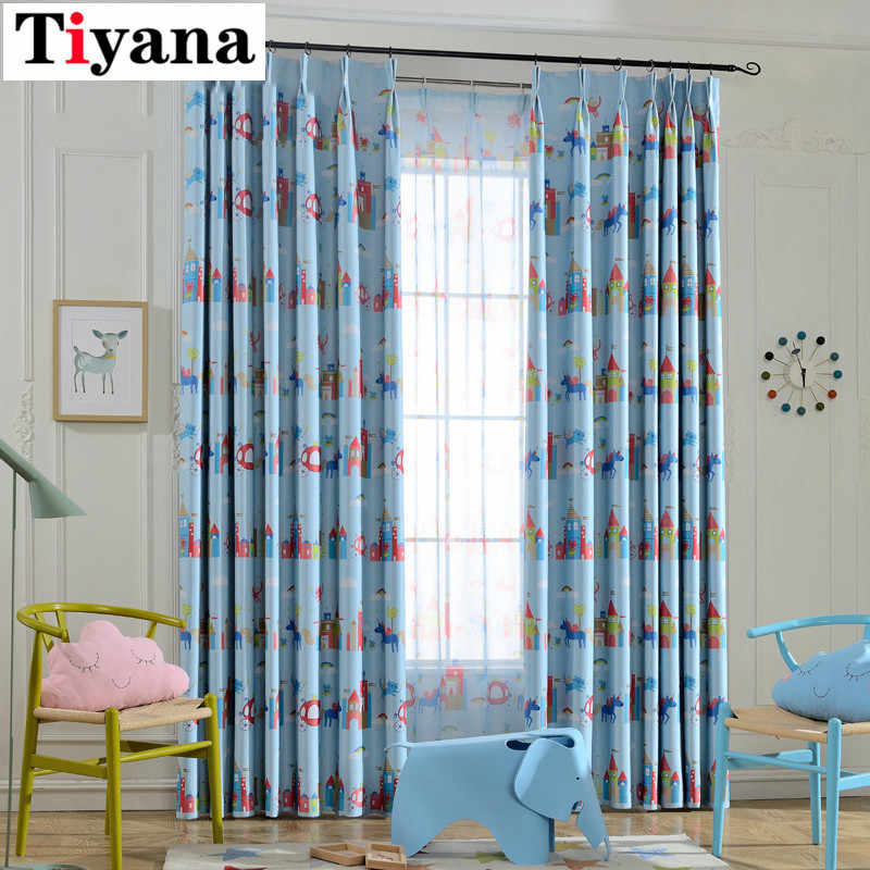 Tiyana 1 Panel Cartoon Children Curtains For Kids Room Sun Screen Pink Blue Tulle Decorative Door Cheap Curtain Cortinas P253D3