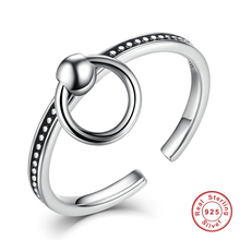 Pure 925 Sterling Silver Rind and Beads Punk Style Vintage Band Stackable Finger Open Rings for Women Wedding Jewelry Bijoux Gif(China)