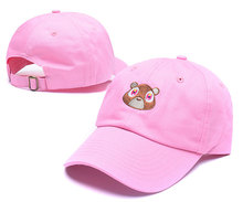 [Which in shower] Black White Pink Tan Cartoon Cute Bear Dad Hat Cotton Summer Baseball Cap Hip Hop Snapback Hat Women Men Bones(China)
