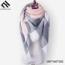 New Winter Scarf Fashion Women Scarf Luxury Plaid Cashmere Scarves Women Triangle Bandage Bufanda Wholesale/warm scarf(China)