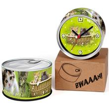 Free Shipping Kitty 2pcs/lot Lovely Cats Kitchen Fridge Magnets Aluminum Can Wall Clocks,Metal Tin Desk Clocks