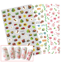 1 Sheets Women Summer Nail Art 3D Colorful Flower Cartoon Decals Nail Sticker Thin Transparent Nail Art Tips Foils CHF195-204(China)