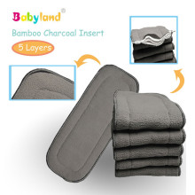(10 pcs/lot) Free Shipping Door to Door Organic cloth diaper Bamboo Charcoal Inserts(China)