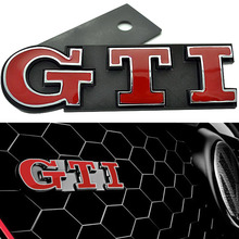 BBQ@FUKA Freeshipping 3D Red GTI Car Front Grille Badge Emblem ABS Fit For VW Golf Polo Passat ect Car Styling Accessary