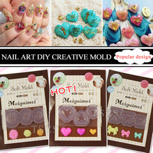 1pcs/lot 3D decortive Acrylic Nail Art Mold Tips Decor DIY Different Styles Transparent(China)
