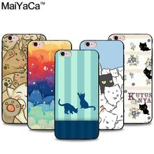 Latest fashion cute cat Black Soft TPU silicone Phone Case Accessories Cover For iPhone 5s 6s 7 plus case