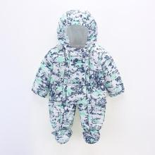 Autumn Winter Newborn Baby Jumpsuit Infant Boys Girls duck down Print Clothing Romper Baby Clothes Warm Overalls(China)