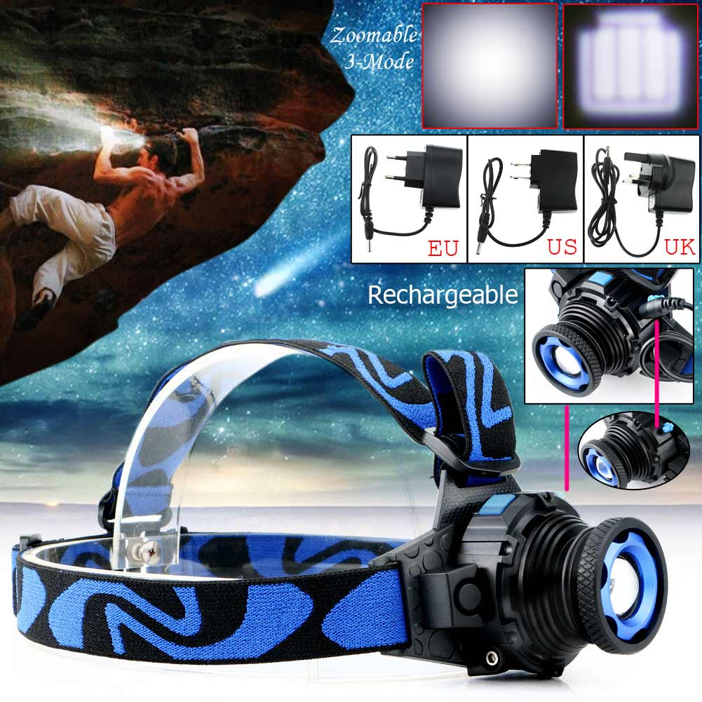 Rechargeable 3 Modes LED Headlamp Headlight CREE Q5 2000LM Zoomable Headlight Flashlight Torch + EU/US/UK Charger