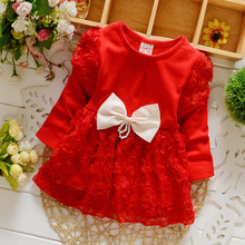 Spring Baby Gril Lace Dress Clothes 2017 Kids Bowknot Lovely Princess Dress 1-3 yrs Wedding Long Sleeve Tutu Dress for Baby Girl