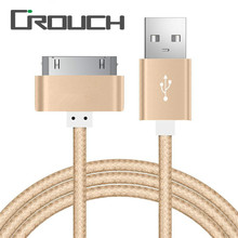 30 Pin Nylon Braided Mobile Phone USB Charging Cables For iPad 2 3 iPod Metal Plug Sync Data USB Charger Cable For iPhone 4 4s