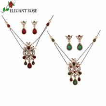 2017 ElegantRose Wonderful And Fashion Alloy Bronze Red And Bronze Green Necklace  For Charming Women N4139