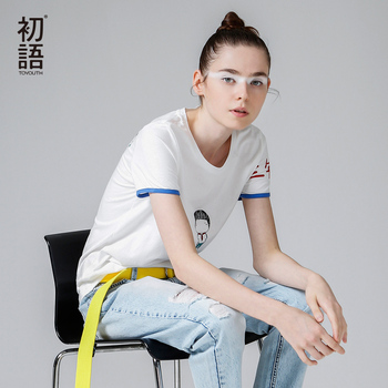 Toyouth 2017 recién llegado de primavera verano del o-cuello patrón sólido ocasional dama de la moda apliques de impresión camisetas de mujeres