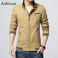 Autumn Fashion Khaki Jacket Men 2016 Brand Design Jersey Cotton Mens Zipper Slim Jackets Windbreaker Casual Coat Plus Size M-4XL
