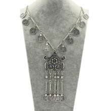New Bohemia Coins Totem Triangle Long Necklace Women Turkish Antique Silver Plated Ethnic nice Pendants Necklace Jewelry(China)