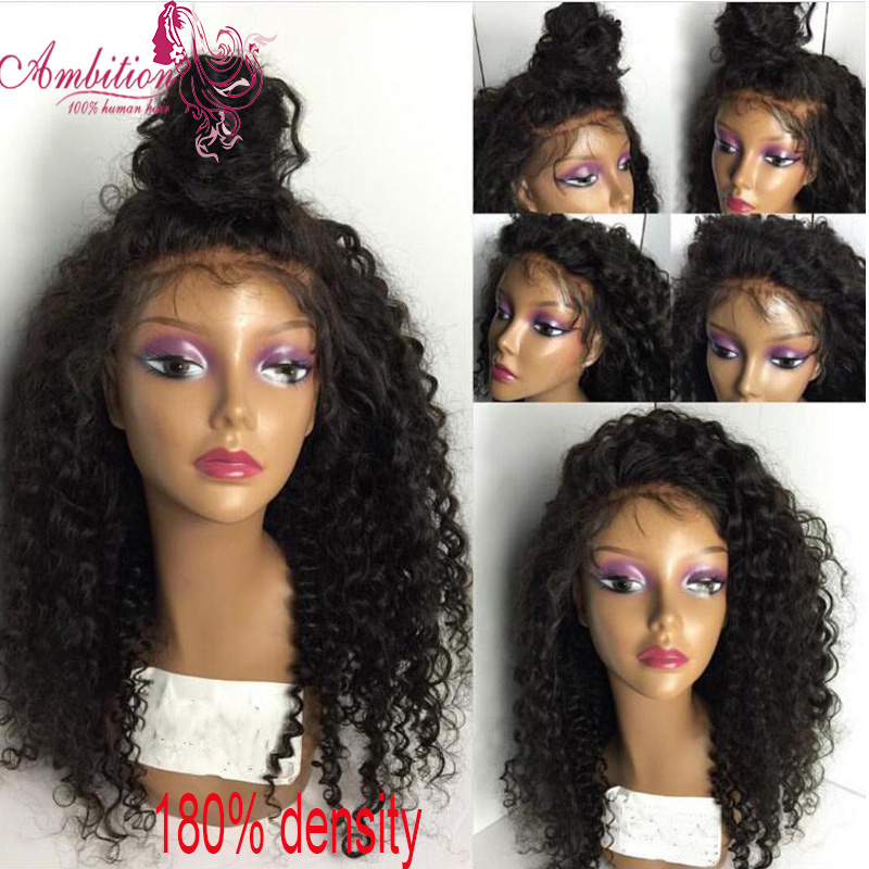 Brazilian VIRGIN Human Hair Lace Front Wig kinky curly 180% Density Human Hair Full Lace Wigs Bleach Knots glueless lace wigs<br><br>Aliexpress