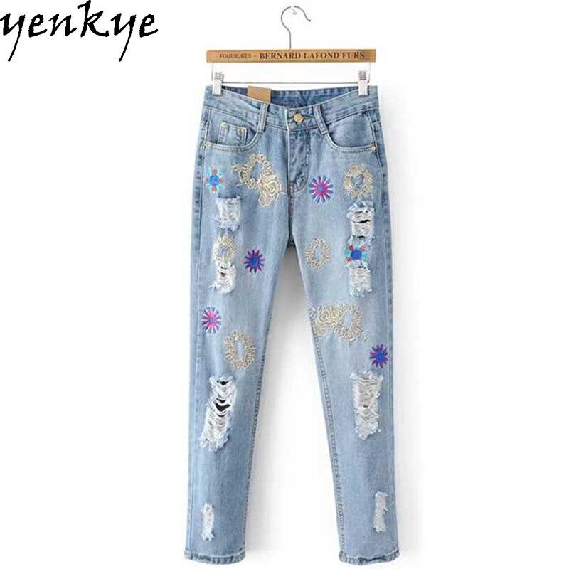 2017 Light Blue Jeans Woman Button Pockets Denim Trousers Sexy Hole Ripped Jeans  femme pantalones mujer cintura alta BBNZ8240 Îäåæäà è àêñåññóàðû<br><br>