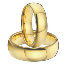 1 pair 8mm & 6mm gold plating titanium wedding bands couples rings sets for men and women alliance anel ouro size USA  5-15