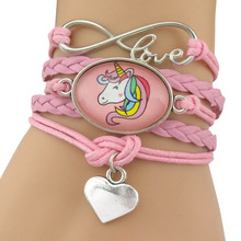 Unicorn Horse Animal Heart Infinity Love 18*25mm Dome Cabochon Charm Leather Bracelets Women Men Jewelry Antique Silver Gift(China)