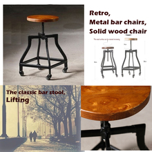 Vintage metal bar chair,bar chair lift,100% wooden bar chair,The pulley of the bar chair,wood stool,metal furniture(China)