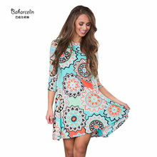 Baharcelin New Spring Autumn Dresses Women Vintage Floral Printed Above Knee Mini Dress One piece Dress Casual Dress top clothes(China)