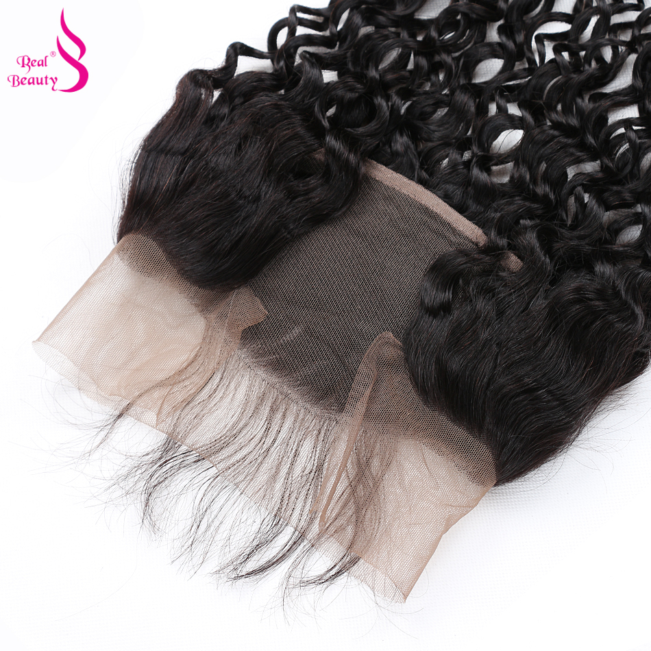 [Real Beauty ]Brazilian Water Wave Lace Frontal 100% Remy Human Hair Ear to Ear 13X4 Closure With Baby Hair Can Be Dryed