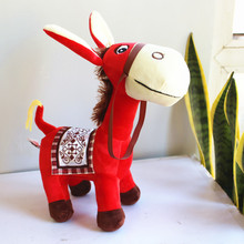 cute plush donkey toy creative red donkey doll gift about 32cm