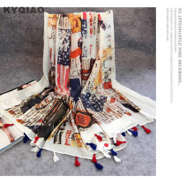 KYQIAO England style long five stars print scarf for women girl spring autumn fashion long tassels scarves pashmina cape muffler