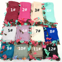 2017 Plain basic Hijabs Viscose colorful tassels women Solid Shawl Wrap Large size Head Scarf Islamic soft scarves hot sale 10ps