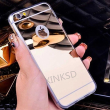 Luxury Acrylic Mirror Soft TPU Cases for iPhone X 7 8 6 6s Plus SE 5s 5 Case Slim TPU Silicone Shockproof Women Girl Fashion(China)