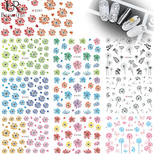 1 Sheet  Beautiful Colorful Flowers 3D Nail Stickers DIY Manicure Decals Fashion Nail Art Decorations Tools  E391-401