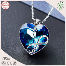 Good Quality Luxurious Valentines Gift Blue Love Bowknot Heart Swarovski Stone Pendant 925 Sterling Silver Necklace
