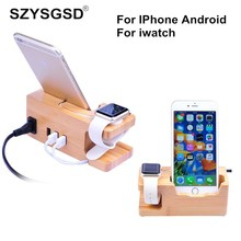 Cell Phone Charging Dock Station For Apple Watch for Iphone 8 7 7 Plus 6 6S Plus 5 5S Wooden Stand Holder with Charger USB Port(China)