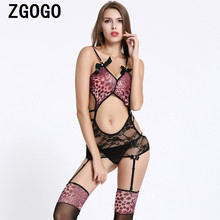 sexy lingerie + stockings hot sex underwear lady intimates Exotic Apparel Women Sexy Baby Dolls Purple leopard Lingerie(China)